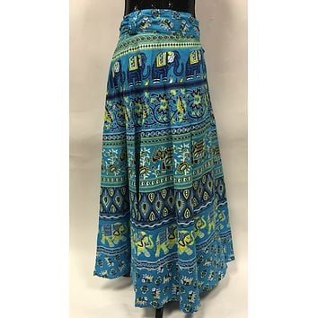 Long Indian Wrap Skirt in Cotton with Elephant and Camel Vintage Print - Blue