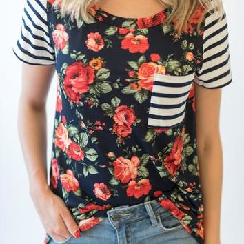 Floral Front Stripe Tee