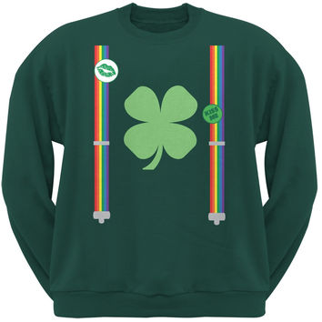 St. Patricks Day - Rainbow Suspenders Forest Green Adult Sweatshirt
