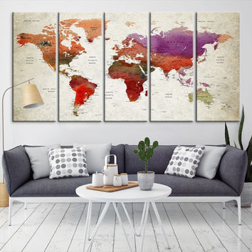 58389 - Large Wall Art World Map Canvas Print- Custom World Map Push Pin Wall Art- Custom World Map Canvas Poster Print- Personalized Wall Art