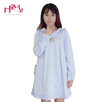 Harajuku Cute Violet Long Winter Dress kawaii Lovely Halloween Dresses With CapEuropean American Psychic Magic Girl Dress Purple