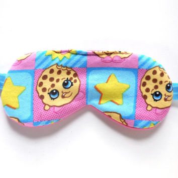 Shopkins Kooky Cookie Sleep Eye Mask, Child or Adult Size, Pink Fleece Party Favors, Cute Shopville Pre-teen Gift, Stars Turquoise Aqua