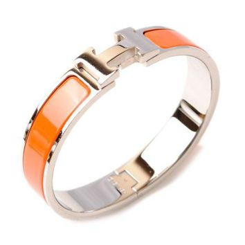 HERMES Auth Clic Clac H Bracelet Bangle Orange Silver Metal FS Excellent #1693