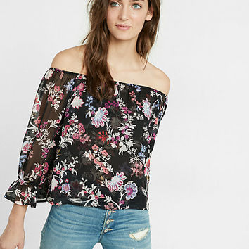 floral print off the shoulder abbreviated blouse