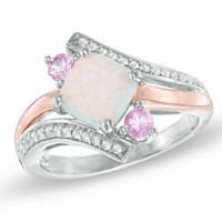 Cushion-Cut Lab-Created Opal and Pink and White Sapphire Ring in Sterling Silver with 14K Rose Gold Plate - Size 7