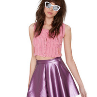 High Waist Leather A-Line Mini Skater Skirt