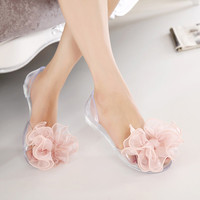 Women Summer Sandals Brand Melissa Plastic Shoes Transparent Crystal Jelly Shoes Pink Bow Flower Sandals Open Toe Beach Shoes Alternative Measures