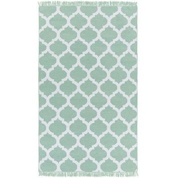 Quatrefoil Mint Green Outdoor Flatweave Rug
