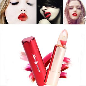 2016 Brand Kailijumei Color Temperature Jelly Flower Lipstick Waterproof Moisturizing Labiales Lip Balm with Mirror
