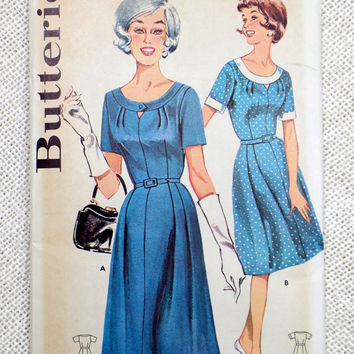 Vintage Pattern Simplicity 3944 dress sewing Full skirt 1960s Rockabilly Bust 40 Fit and Flare plus size large Cutout pleated skirt Bodice