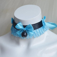 Premade Kittenplay day collar - Blue berry - ddlg princess kawaii lolita costume - black kitten petplay adult pet play choker - Nekollars