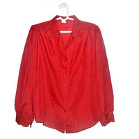 Vintage Red Blouse Womens Button Up Button Down Shirt Plus Size Large L XL
