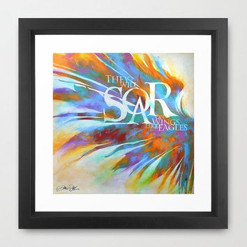 Framed Soar Quote Scripture Eagles Wings Feathers by Inspireuart