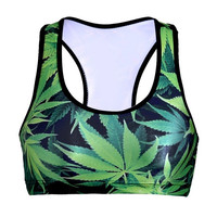 Women Sports Bra Crop GRM Tank Top Vest Bra Plantlife Green Weed Leaf Print Shir