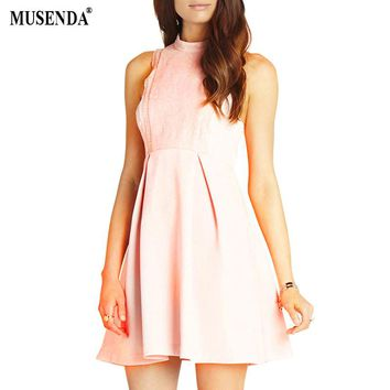 MUSENDA Women Lace Fit and Flare Dress 2017 Summer Clothing Tunic Short Pink Dresses Lady Sexy Vestidos Party Beach Sundress