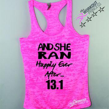 And She Ran Happily Ever After 13.1 Marathon Tank Top