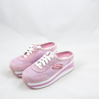 Vintage 90s Skechers Sneakers Platform Sneakers Skechers Platform Shoes Pink and White Sneakers Slip on Shoes Spice Girls Size 8.5