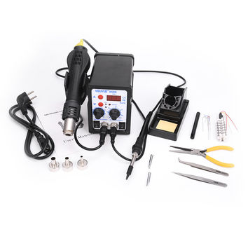 2 In 1 ESD Hot Air Gun Soldering Station For IC SMD Desoldering +Heating core+tweezers+ pliers
