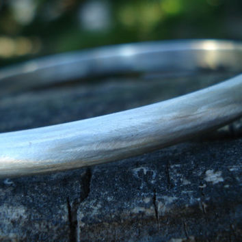 Brushed sterling silver bangle, solid, extra large, large, medium, small, extra small, custom fitted bangle, ecofriendly recycled silver