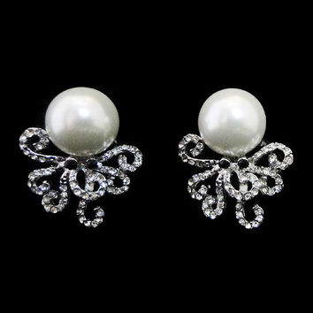 Rare Octopus Faux Pearl Stud Earring, Clear AB Swarovski Crystal, Rhinestone Earrings Bridal Jewelry-111291622