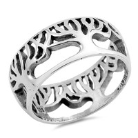 Sterling Silver Women's Ring Tree of Life 9MM