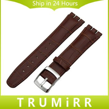 Top Layer Genuine Leather Watchband 17mm 19mm 20mm for Swatch Men Women Watch Band Croco Grain Strap Wrist Bracelet Black Brown