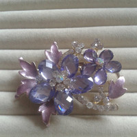 lila and purple  crystal flower rhinestone goldtone  brooch  pin