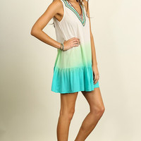 Vibrant Embroidered Dress - Mint