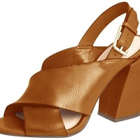 Heeled Leather Sandal Camel - Capodarte