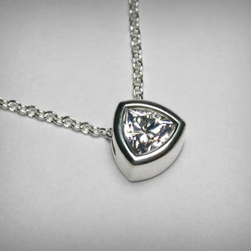 Imitation Diamond Necklace Pendant, Bezel Set, Cubic Zirconia CZ Necklace Pendant, Sterling Silver Solitaire Simulated Diamond Necklace