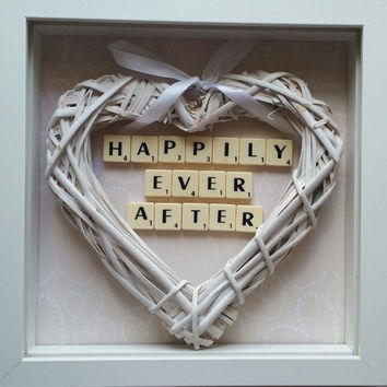 Wedding and first year wedding anniversary gift happily ever after wedding frame scrabble custom handmade home decor keepsake frame