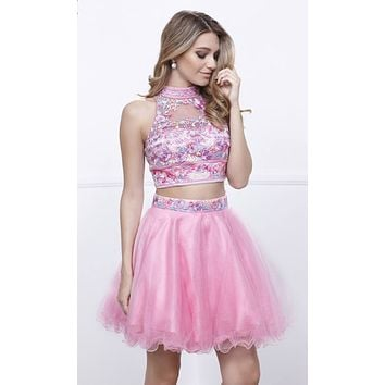Baby Pink Embroidered Crop Top Two-Piece Homecoming Dress Keyhole Back