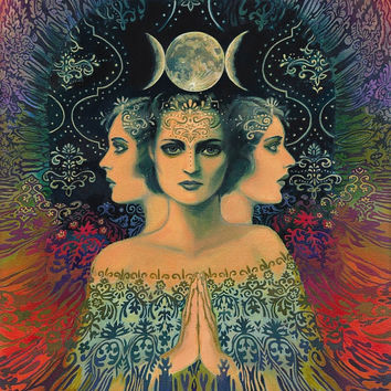 Moon Goddess of Mystery Psychedelic Tarot 16x20 Poster Print