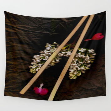 Chop Sticks Pattern Wall Tapestry by Pepita Selles