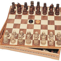 Medieval Chess and Checkers Set with Board Storage 15W - 6006