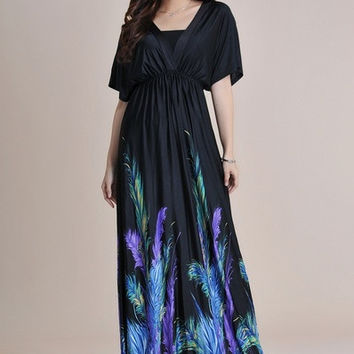 2015 Women Summer Bohemian Black Feather Printed Long Maxi Beach Dress Ladies Vestiti Robe Longue Femme 6xl Plus size = 1928439428