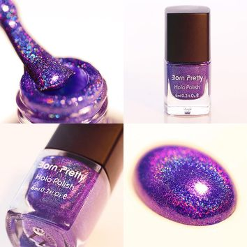 6ml Dark Purple Born Pretty Holographic Holo Glitter Nail Polish Varnish Hologram Effect Nail Tool 11#6409