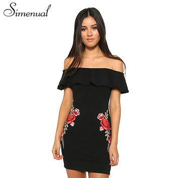 Simenual Off shoulder ruffles summer dress ladies 2017 casual embroidery flowers women bodycon dresses party vintage sexy dress