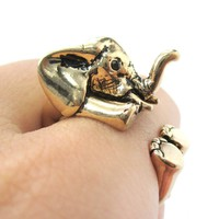 3D Realistic Baby Elephant Animal Wrap Around Ring in Shiny Gold | US Sizes 5 to 8.5