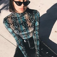 Blue Snake Skin Pattern Band Collar Long Sleeve Bodysuit Club Wear Short Jumpsuit