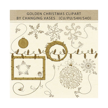 15 Digital Christmas Clipart, Golden Christmas Clip Art Elements, Holiday Scrapbooking Overlays, Snowflakes, Frame, Ornaments, Holly Vines