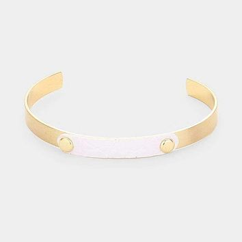 Faux Leather Accented Metal Cuff Bracelet