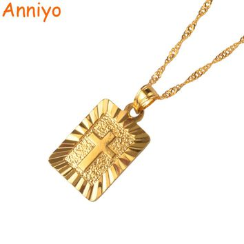 Anniyo Christian Cross Pendants Women Gold Color Christianity Crucifix Classic Jewelry Charm Pendant Jesus Items gift #087506