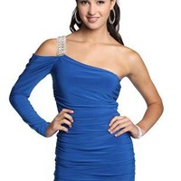 one shoulder homecoming dress with long sleeve and stone strap - debshops.com