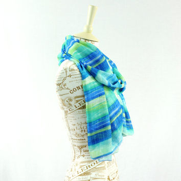 Striped Chiffon Scarf Blue Green Sari Long Wide Sheer