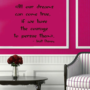Wall Decals Family Quote All Our Dreams Can Come True Vinyl Decal Sticker Words Living Room Interior Design Home Art Mural Decor KG575