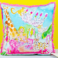 LILLY PULITZER: Large Pillow - Zoo Party