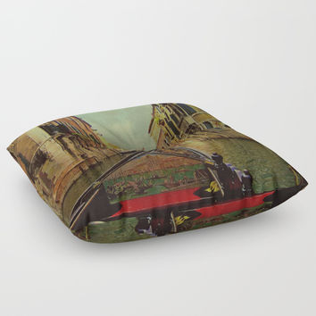 Venice, Italy Canal Gondola View Floor Pillow by Theresa Campbell D'August Art
