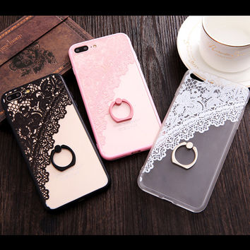 Beautiful Lace Flowers with Fashion Ring Holder Stand iPhone Case