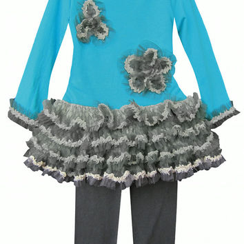 Isobella & Chloe Sophia Teal Blue and Grey 2 piece Tunic Tulle Set